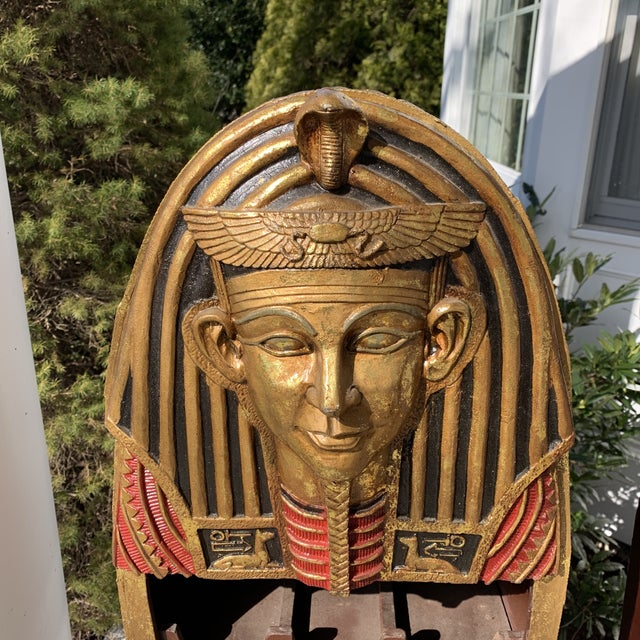 Egyptian Revival Egyptian Sarcophagus Wood Dry Bar and Storage Cabinet For Sale - Image 3 of 13