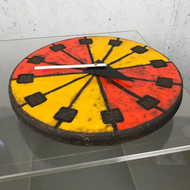 Orange Mid-Century Modern 1960's Italian Ceramic Wall Clock by Bitossi & George Nelson For Sale - Image 8 of 13