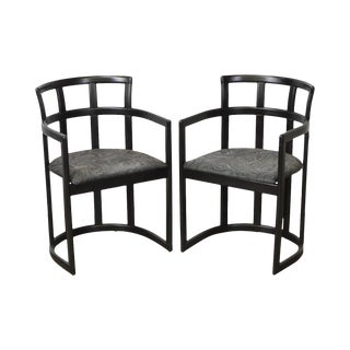 Design Institute of America Black Lacquer Pair of Curved Back Arm Chairs - a Pair
