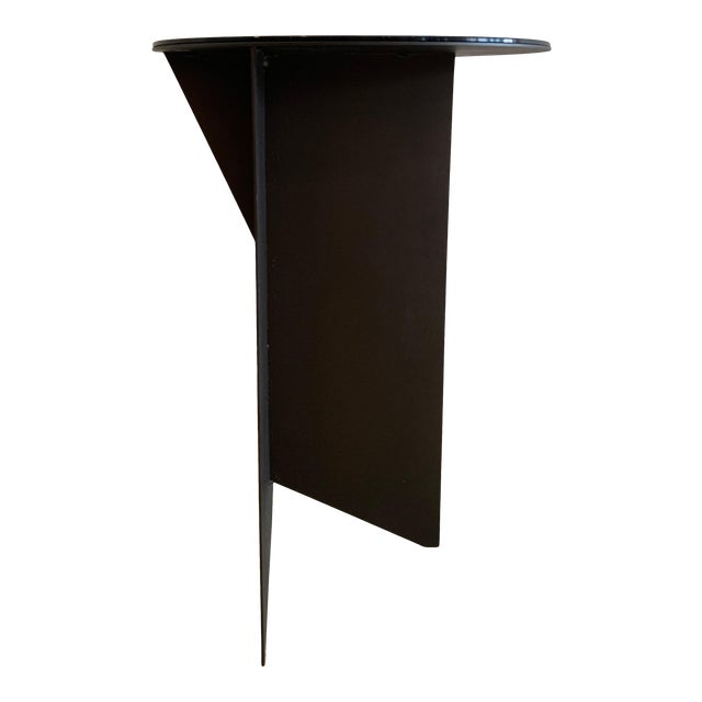 Contemporary Black Iron and Glass Side Table For Sale