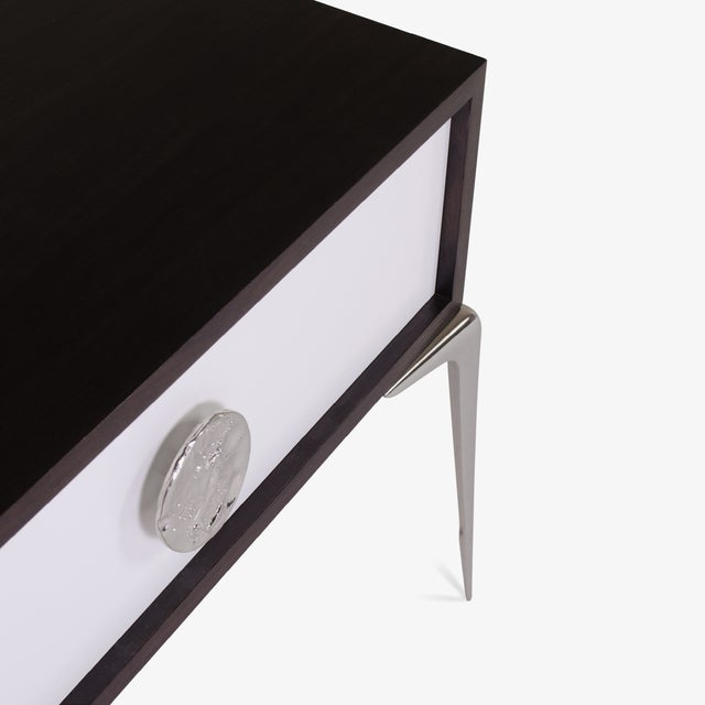 Colette Nickel Nightstands in Ebony & Ivory by Montage, Pair - Image 6 of 9