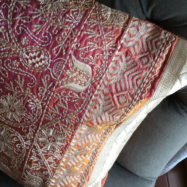 Embroidered Handwoven Copper Silk Pillow - Image 4 of 5