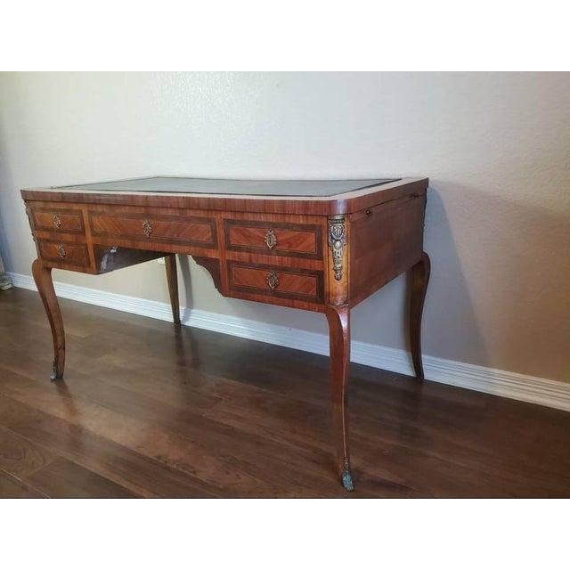 Metal 1920s French Louis XVI Bureau Plat Writing Desk For Sale - Image 7 of 13