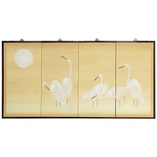 Japanese Four Panel Screen of White Cranes and Moon For Sale