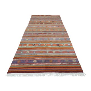 "Vintage Turkish Kilim Rug-5'1'x10'8"" For Sale"