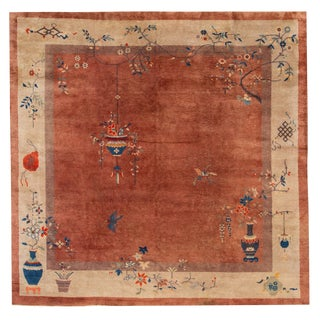 "Antique Chinese Deco Rug, 9'10"" X 9'1"" For Sale"