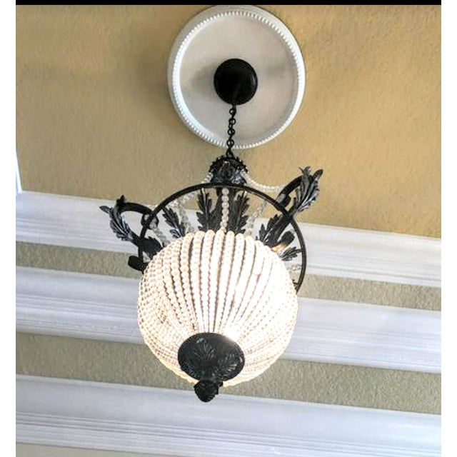 Metal A Pair Massive Beaded French Style Crystal Hanging Chandeliers Cristol De Lisbon For Sale - Image 7 of 8