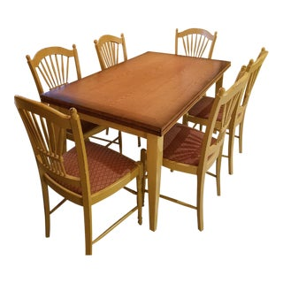 Arhaus Extendable Table With 6 Dining Chairs and 3 Matching Barstools For Sale