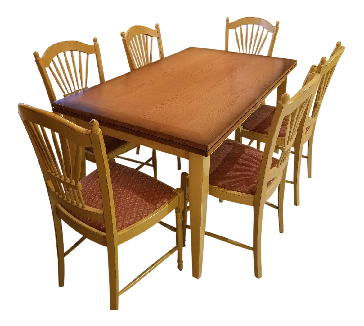 Arhaus Extendable Table With 6 Dining Chairs And 3 Matching Barstools