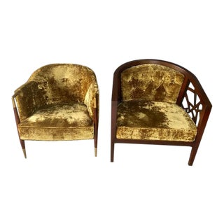 "Customized ""His & Her"" Crushed Velvet Club Chairs - a Pair For Sale"