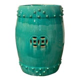 Image of Vintage Asian Green Painted Porcelain Garden Stool For Sale