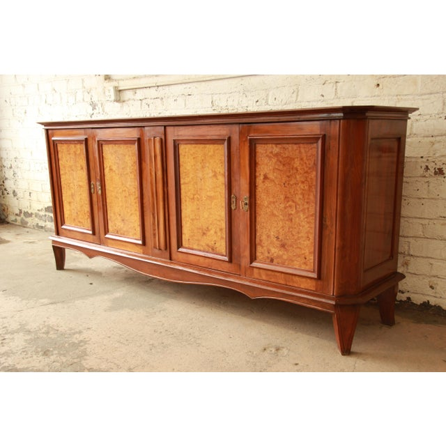 Vintage French Burled and Inlaid Maple Sideboard For Sale - Image 4 of 11