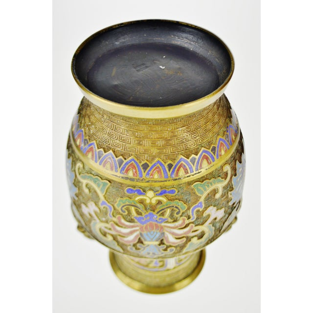 Blue Vintage Japanese Brass Champleve Urn Shaped Vase with Figural Handles For Sale - Image 8 of 11