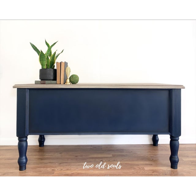 Metal Nautical Navy Blue Executive Desk With Driftwood Top For Sale - Image 7 of 9