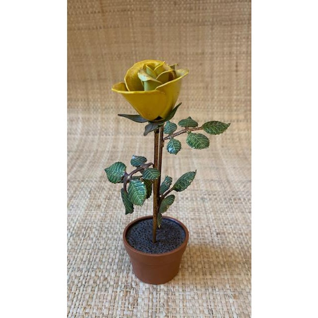 Metal Vintage Italian Potted Tole Yellow Roses For Sale - Image 7 of 7