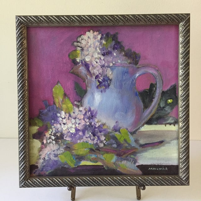 Traditional Original Flower & Cat Still Life Oil Painting by Marina Movshina For Sale - Image 3 of 7