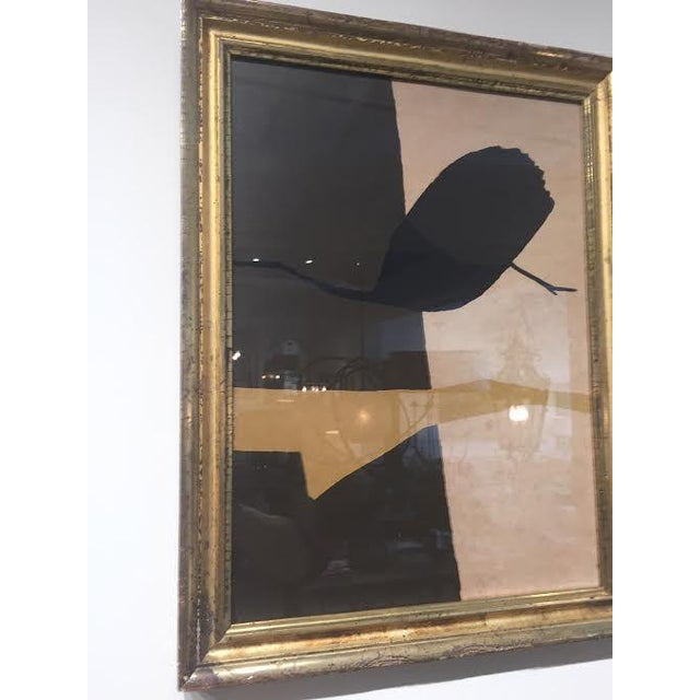 """Vintage abstract art titled """"Israel"""" by artist Michael Gross, housed behind glass in beautiful antique gilt frame."""