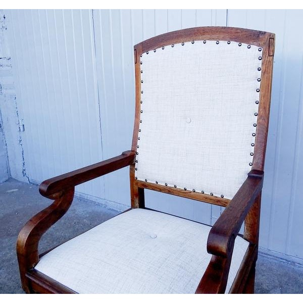 Brown French Louis XIII Style Restored Reupholstered Walnut Throne Armchair For Sale - Image 8 of 9