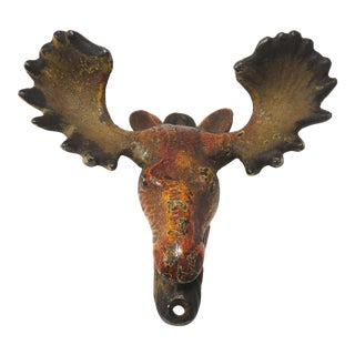 Vintage Wall Mount Cast Iron Moose Bottle Opener For Sale