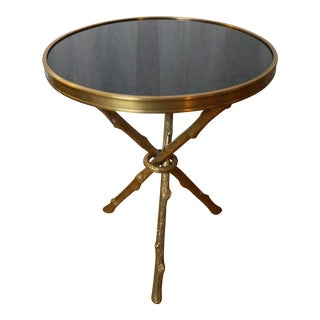 Bronze Tripod Table Faux Bois Stone Top