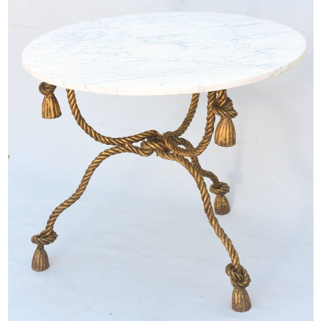 Niccolini Gilded Iron Rope-And-Tassel Table With Carrara Marble Top For Sale In West Palm - Image 6 of 9