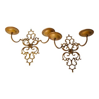 "Pierced Brass ""Lacy"" Two-Arm Sconces For Sale"