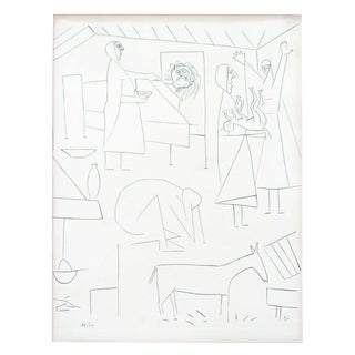 Mid Century Modern Pablo Picasso Dos Contesis Burin Etching Framed 1940s For Sale