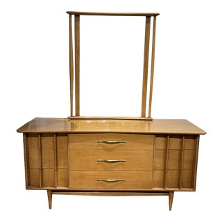 1960s Kent Coffey Foreteller Collection Lowboy Dresser with Mirror For Sale