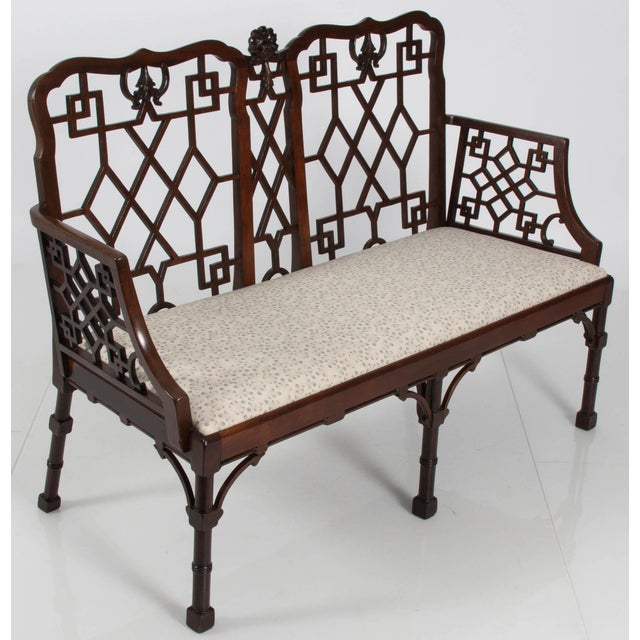 """Newly upholstered mahogany Chippendale style settee. Newly upholstered in George Smith """"Feathers"""" linen."""