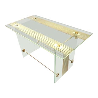 Fontana Arte Vintage Coffee Table in Engraved Glass and Bronze For Sale