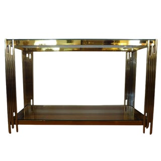 1970s Italian Brass Two Tiered Console Table For Sale