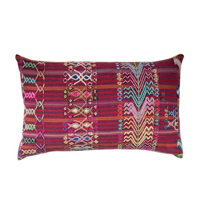 Vintage Guatemalan Red & Pink Striped Pillow - Image 1 of 6