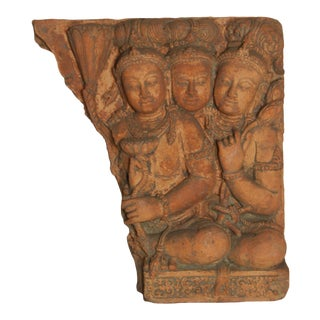 Antique Cambodian Red Terracotta Temple Sculpture with Divinities and Lotus For Sale