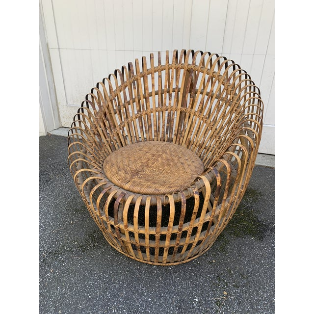 Franco Abini Style Rattan Bamboo Chair For Sale - Image 13 of 13