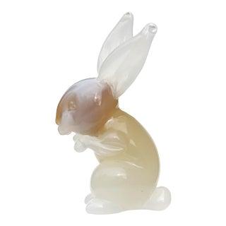 Seguso Murano Vintage Opalescent White Caramel Italian Art Glass Bunny Rabbit Sculpture For Sale