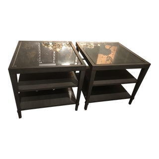 Hollywood Regency Barbara Barry for Baker Grey Side Tables - a Pair For Sale