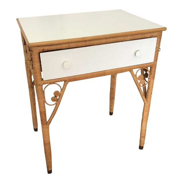 Vintage Boho Wicker Desk