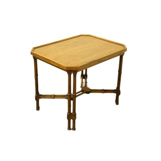 20th Century Asian Brandt Furniture Embassy Collection Faux Bamboo Accent Table For Sale
