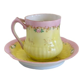 Antique Pink and Yellow Demitasse Tea Cup and Saucer For Sale