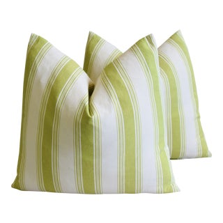 """French Green & White Striped Feather/Down Pillows 23"""" X 22"""" - Pair For Sale"""