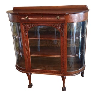 1900s Victorian Buffet Display Cabinet With Original Beveled Glass Claw Foot With Top Drawer Key and Locks Curio Cabinet Bookcase For Sale