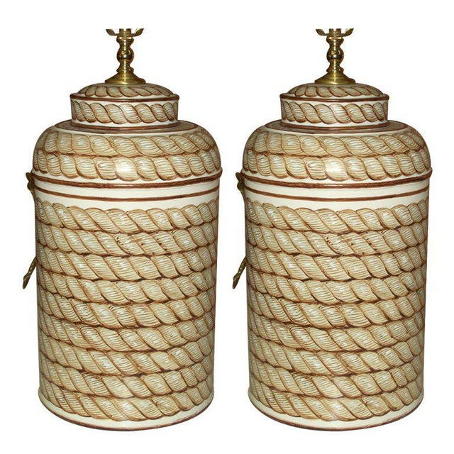 Mid 20th Century Pair of Hand-Painted Tole Canister Lamps For Sale - Image 5 of 5