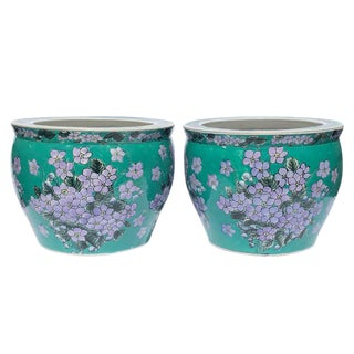Vintage Mid Century Green and Purple Floral Chinoiserie Export Fishbowl Planters - A Pair For Sale