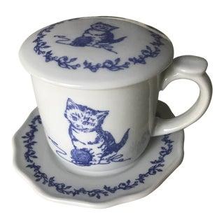 Toile Kitten Mug, Saucer and Lid
