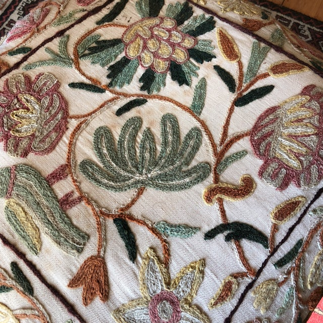 Antique Embroidered Corner Accent Chair - Image 10 of 11