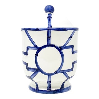 Italian Hand Painted Fretwork Cotton Jar With Lid For Sale