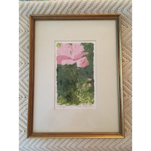 This is a monotype print in a simple gold wood frame. It is matted on acid-free board and is in exceptional condition....