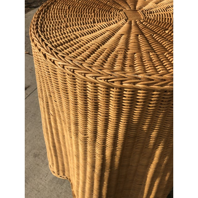 Vintage wicker ghost side table or pedestal, with wood insert for top sturdiness. Great condition, has a few subtle...