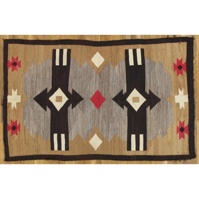 "20th Century Folk Art Navajo Carpet - 4'6""x7' For Sale - Image 9 of 9"
