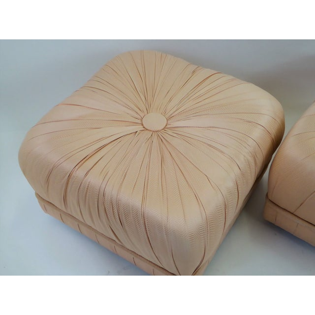 Fabric Pair of Hollywood Glam Poufs on Casters 1970s For Sale - Image 7 of 11